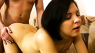 Horny chick feels enormous cock invading her tender twat