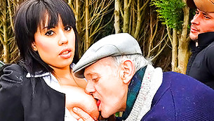 Lecherous old man squeezing big funbags of a young chick