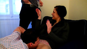 Extremely stunning young girl and her two guys are performing group sex