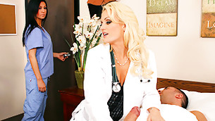 Sassy sinful female doctor is busted jerking her patient's cock off
