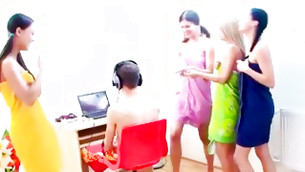Look at the row of these perfect girls ready to suck on a huge and very rough pleasure stick
