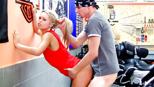 Biker man is hammering this blonde's vagina and pulling her sexy hair