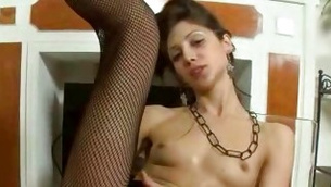 Small tittied nasty chick in fishnet on twat is sexing up her with ding-dong