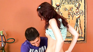 Curious guy is running his skilful fingers down chick's naked horny body