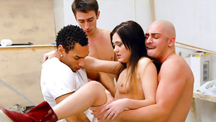 Two hurtful chaps clenching cutie babe on hands to hammer her pink flaps and ass
