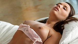 Brunette babe with amazing boobs is enjoyment by oversize long shaft