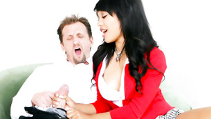 Dirty stud is howling while Asian skank wanking his oversize pecker