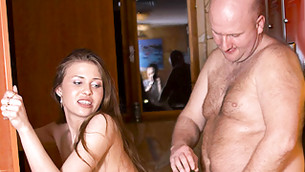 Chubby noxious dude is getting his cock deep into this bimbo's fresh wet crack