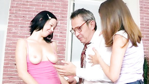 Two awful gals are palatable their ripened deviated teacher