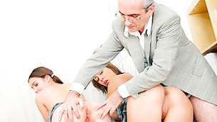 Disgraceful awful fellow is examining driblet's exposed sexy darling booties