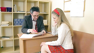 Long haired blonde doe came to her teacher's office to be punished