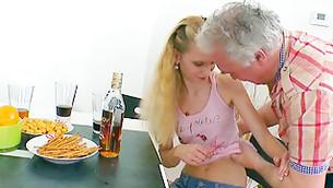 Drunk ripened fella is stripping doe's flexible and sweet bazookas