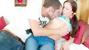 Shameless dude is seductively swallowing this hot babe's aroused breasts