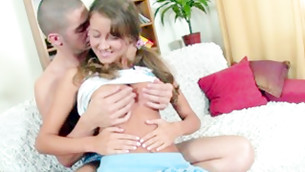 Disgraceful young likes this bald man pressing her huge cemented tits