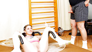 Libertine ancient mister is watching this delightful teen lassie propagating her legs
