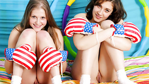 Two enchanting nifty looking lassies are projecting their uncovered snappers