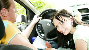 Lecherous madam of pleasure is going to give a bawdy oral pleasure in the engine