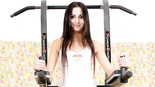 This libertine and enchanting really likable madam of pleasure is doing exercises in gym